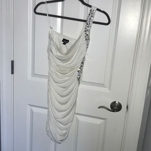 white one shoulder homecoming dress